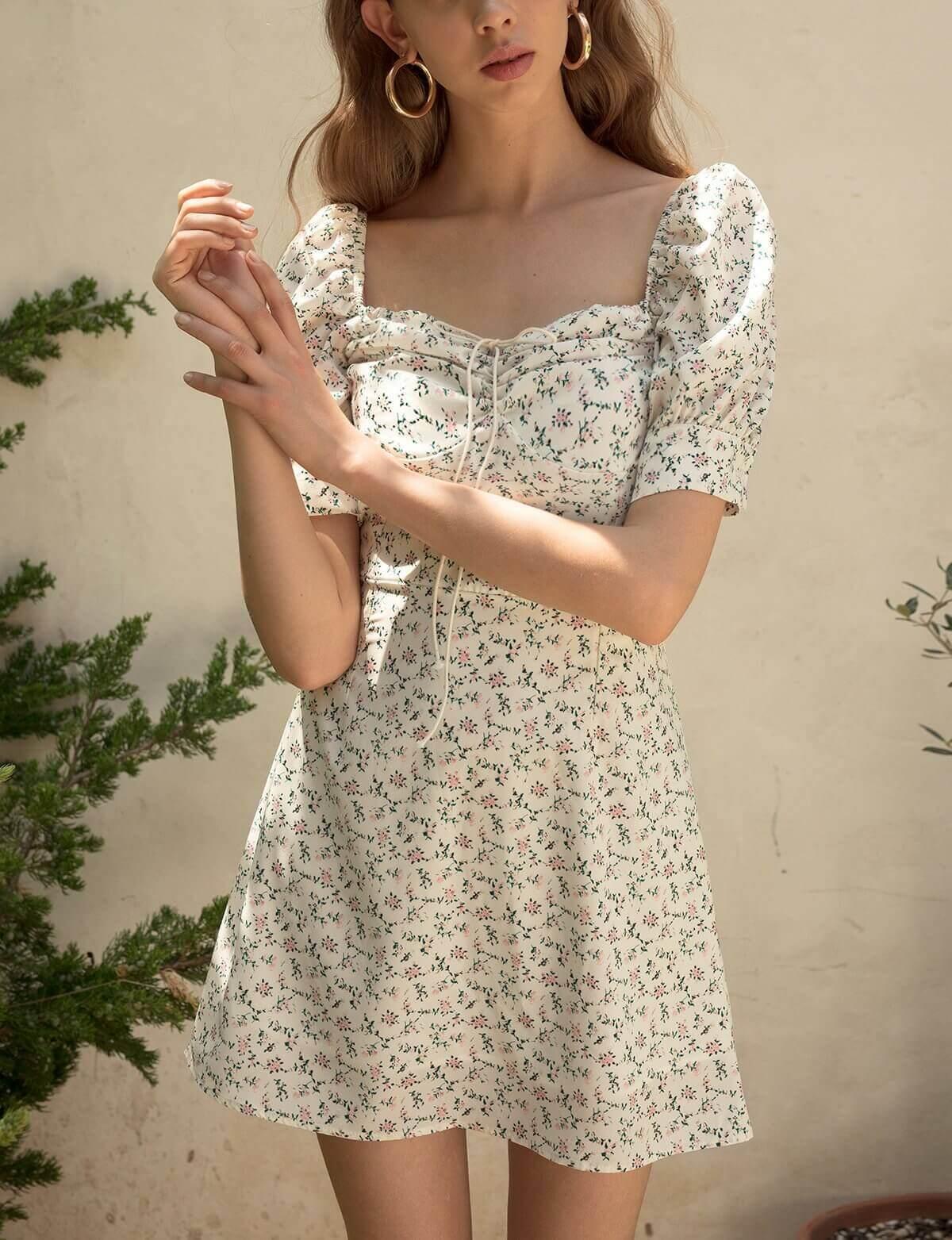 Ria Floral Bustier Tie Dress