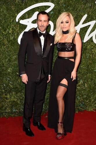 skirt top dress rita ora black fashion crop tops gown