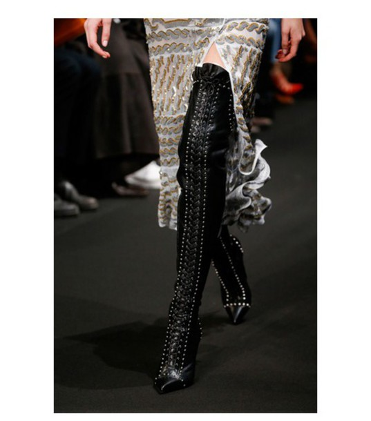 shoes thigh high boots dion lee fashion week 2015 black boots leather boots