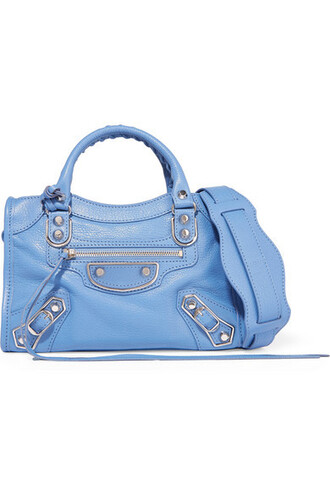 mini metallic leather blue bag