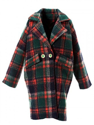 coat choies grid square pattern red and green tartan