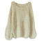 Batwing puff sleeve light-apricot jumpers [ncswq0148] - $26.99 :
