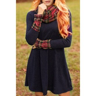 dress plaid streetwear winter outfits vintage skater skirt vintage dress rose wholesale autumn/winter fall outfits