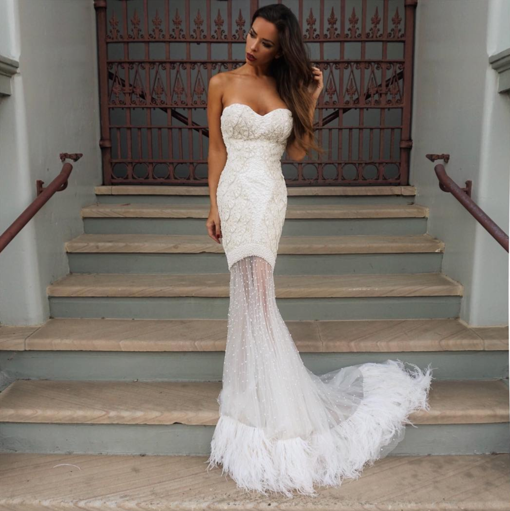 lace feather gown