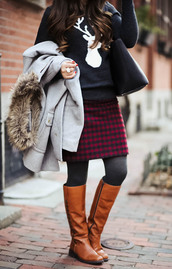 skirt,tumblr,tartan,plaid skirt,tartan skirt,mini skirt,printed skirt,tights,opaque tights,sweater,black sweater,bag,black bag,coat,grey coat,boots,flat boots,brown boots,knee high boots