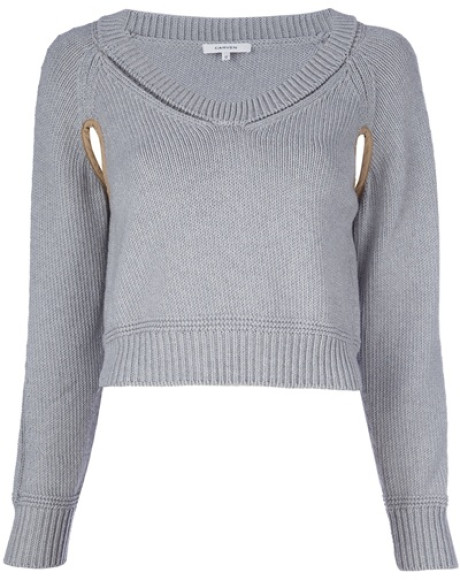 Carven Cropped Sweater in Gray (grey) | Lyst