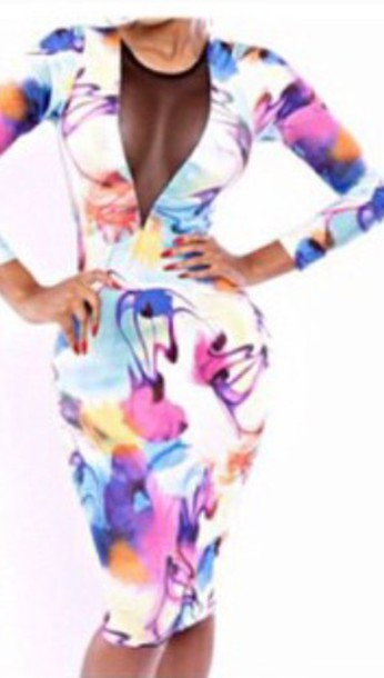 dress colorful dress mesh neckline pencil dress long sleeves