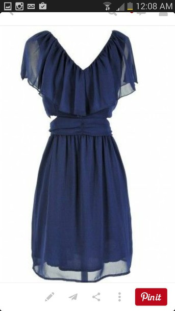dress navy dress sleeves slit sides ruffle