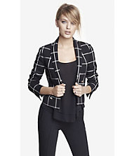 20 INCH WINDOWPANE PLAID PEAK LAPEL JACKET from EXPRESS