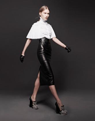 skirt fashion lookbook alexander mcqueen shirt scarf shoes