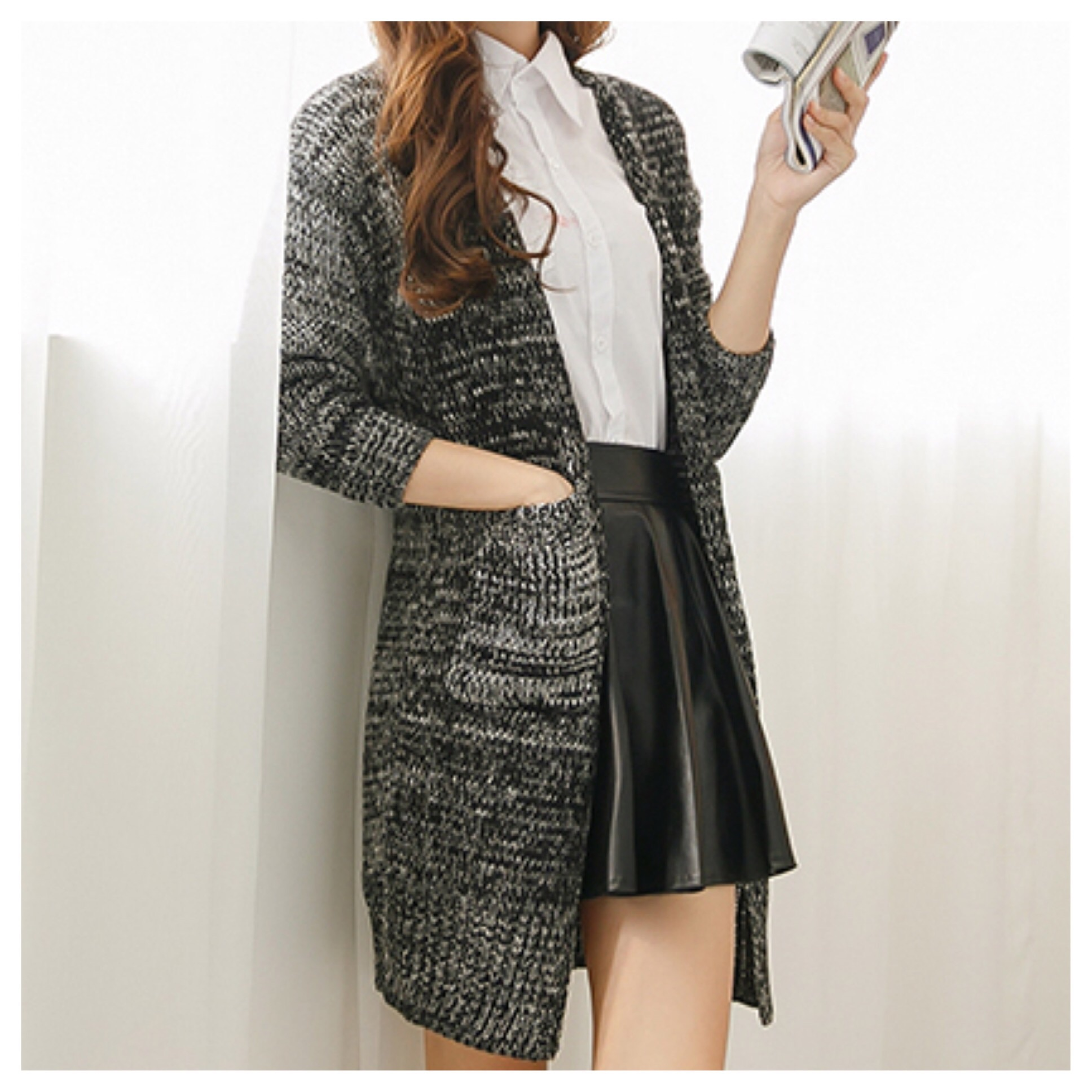 Knitted long cardigan with front pockets