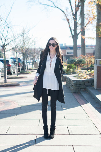 the glam files blogger sunglasses jewels coat top jeans shoes bag