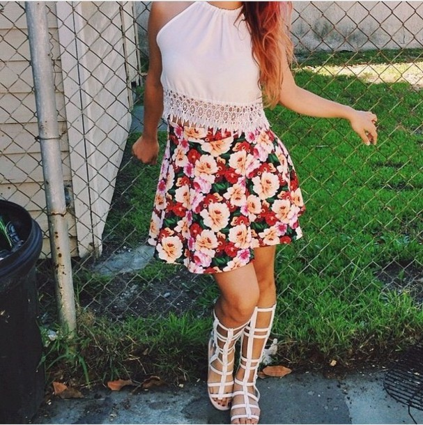 tank top cute top fringed top floral skater skirt skater skater skirt fringes top crop tops cute skater skirt blouse