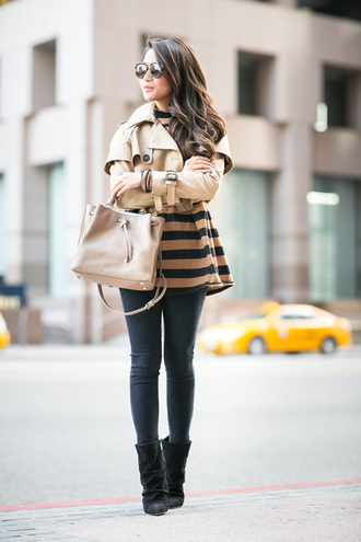 wendy's lookbook blogger striped top trench coat cropped top jacket shoes bag sunglasses jewels