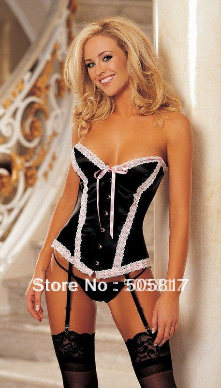Free Shipping Sexy Slim Lace Satin Corset G String Garter