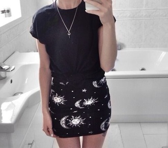 skirt moon stars tight grunge pagan wiccan astronomy