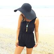 romper,black,high neck,low back,bowtie