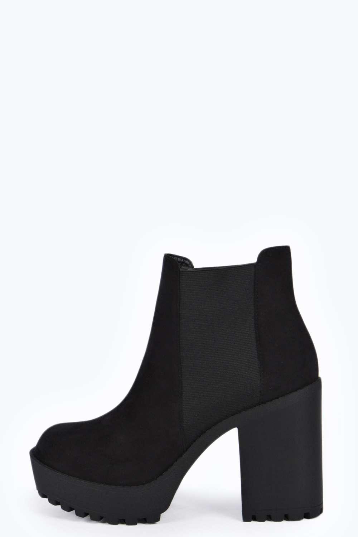 Cheska square toe deep elastic cleated boot