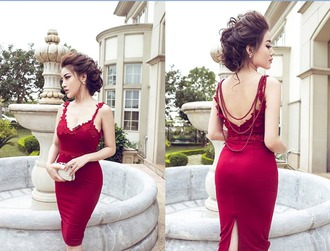 dress red long dress prom dress gown lace lace dress sexyy sexy dress backless cocktail dress chiffon floral floral dress wedding clothes sleeveless sleeveless dress skirt fashion ootd red dress backless dress backless prom dress party dress cocktail dresses red wedding dress trends 2015 women dress girly outfit trendy