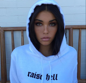 sweater,raise hell,jumper,hoodie,white,black,hell,raise,oversized