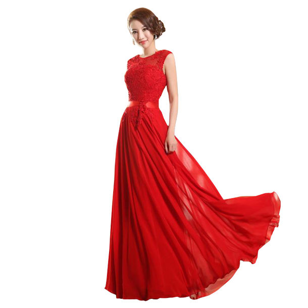 Dress: women fashion dress 2015 evening dress prom dress red ...