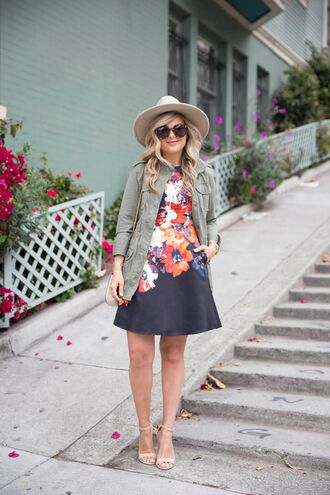 suburban faux-pas blogger hat dress jacket sunglasses shoes bag jewels pocket jacket army green jacket floral dress mini dress short dress sandals high heel sandals sandal heels nude sandals