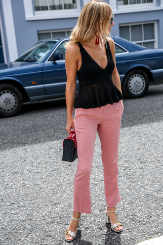 pants tumblr cropped pants pink pants top black top peplum top peplum sandals sandal heels mid heel sandals bag necklace jewels shoes