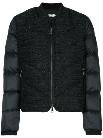women quilted black jacket