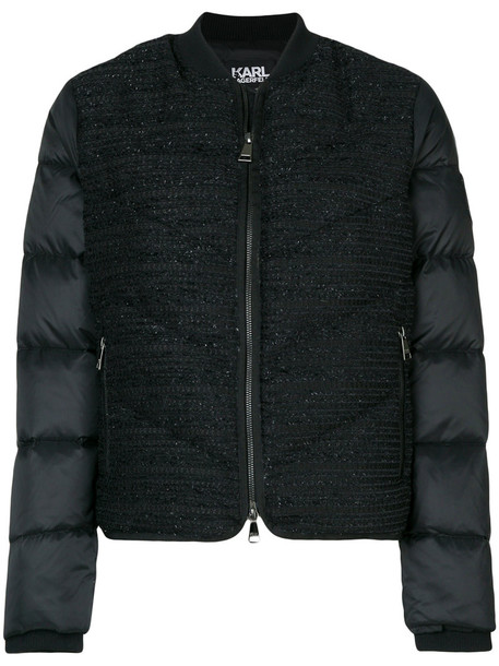 karl lagerfeld women quilted black jacket