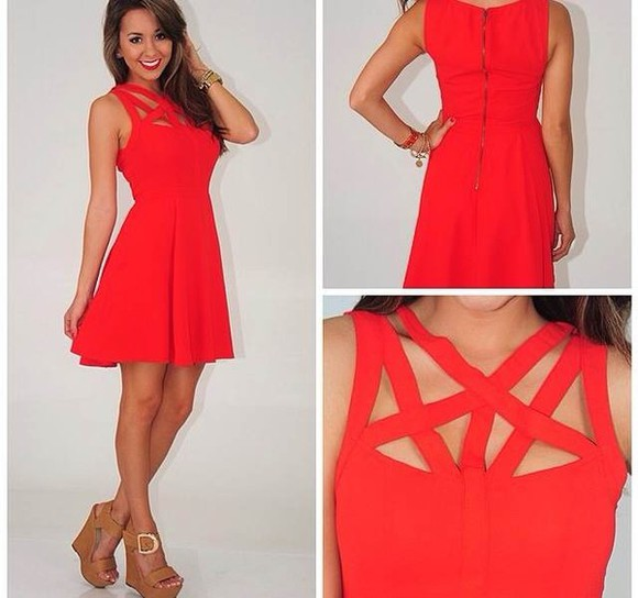 dress red mini shoes cutouts