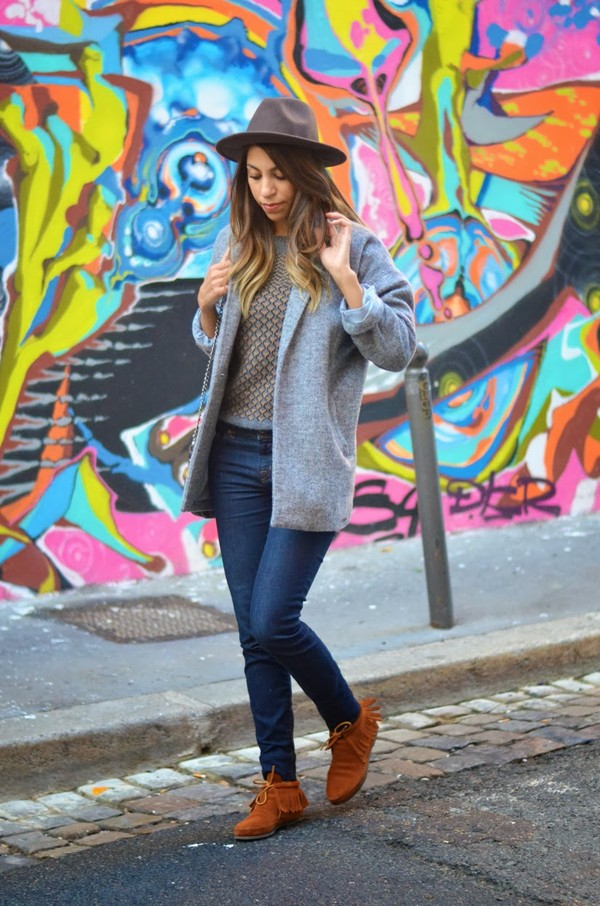 fadela mecheri hat coat sweater jeans shoes