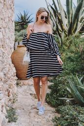 dress,midi dress,stripes,striped dress,off the shoulder dress,off the shoulder,sneakers,white sneakers,bag,white bag,sunglasses