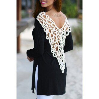 top trendy black and white embroidered long sleeves stylish scoop neck long sleeve side slit hollow out t-shirt for women casual open back sexy