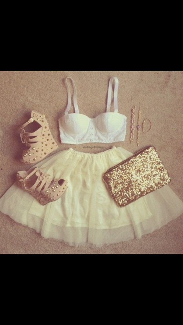 skirt crop tops shoes gold studs beige shoes high heels wedges sparkle shirt bag bralette bralette white white crop tops spagetti straps buttons white  buttons dress pink white bralette cream skirt beige stud high heels