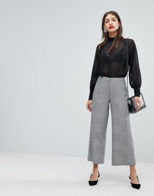 Whistles Check Cropped Wide Leg PANTS at asos.com