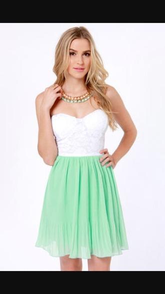 dress white dress mint dress