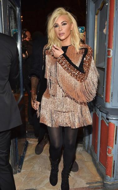 dress kim kardashian fringes