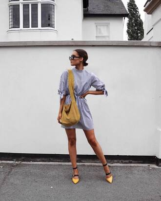 shirt tumblr blue dress white dress mini dress bag suede bag sandals flat sandals summer dress sunglasses shoes dress stripes striped dress yellow high heels heels