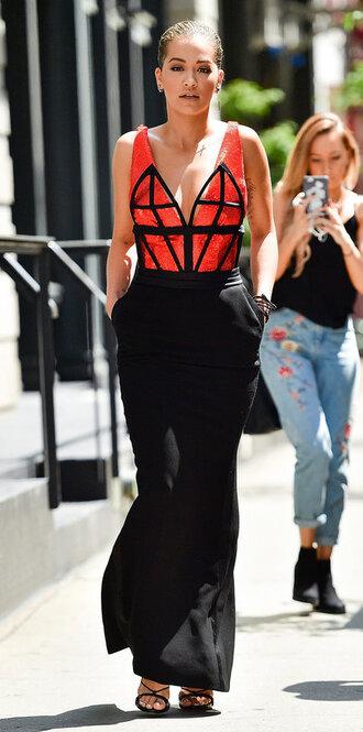 skirt top dress rita ora maxi skirt black skirt orange top