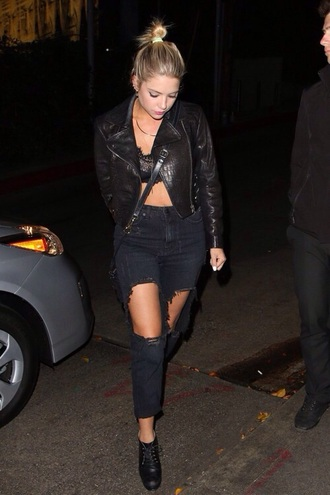 jeans jacket top lace bralette ashley benson black torn jeans ripped jeans grunge date outfit black ripped jeans