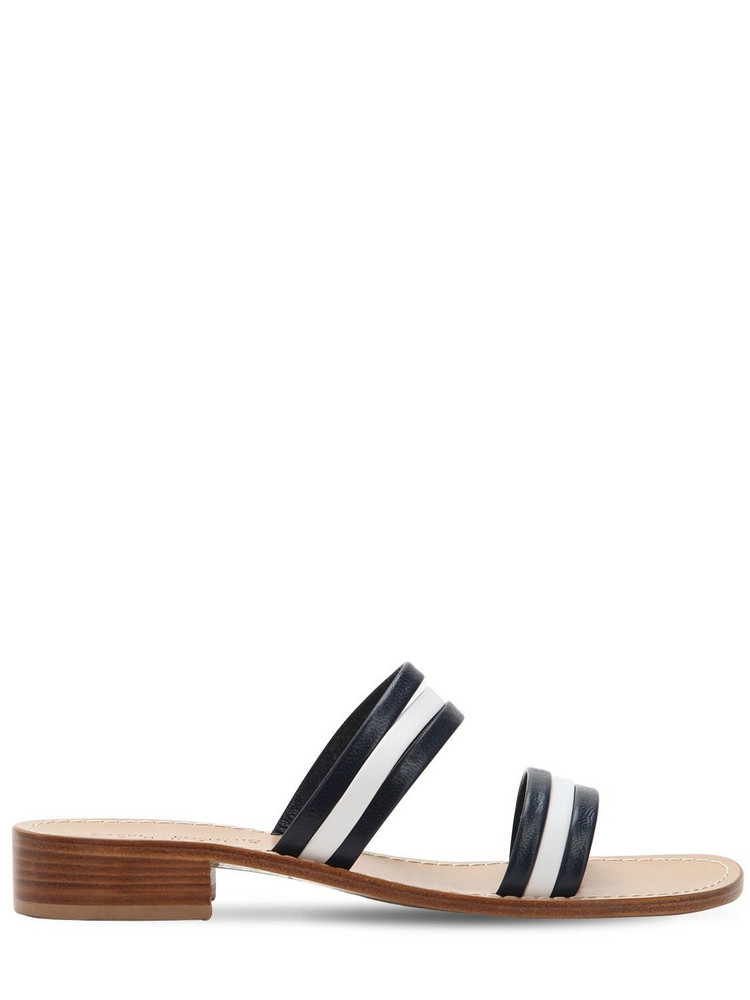 CAPRI POSITANO 30mm Conca Leather Sandals in navy / white