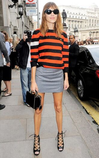 sweater striped sweater skirt mini skirt grey skirt high heel sandals sandals lace up heels heels strappy heels black heels bag black bag sunglasses black sunglasses alexa chung