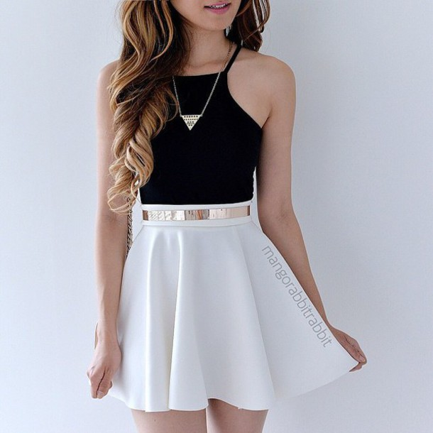 Black dress white belt