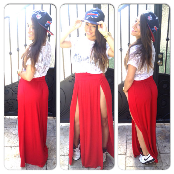 High Waisted Double Slit Long Maxi Skirt by StudStruck