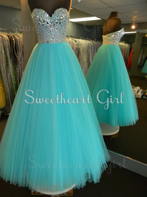 Amazing tulle rhinestones sweetheart neckline blue prom dress · Sweetheart Girl · Online Store Powered by Storenvy