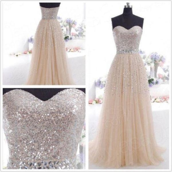 Wholesale Evening Dresses - Buy Shining Sequins Crystal Sweetheart Evening Dresses Sleeveless Backless Floor Length A Line Tulle Prom Dress Party Gowns, $118.33   DHgate