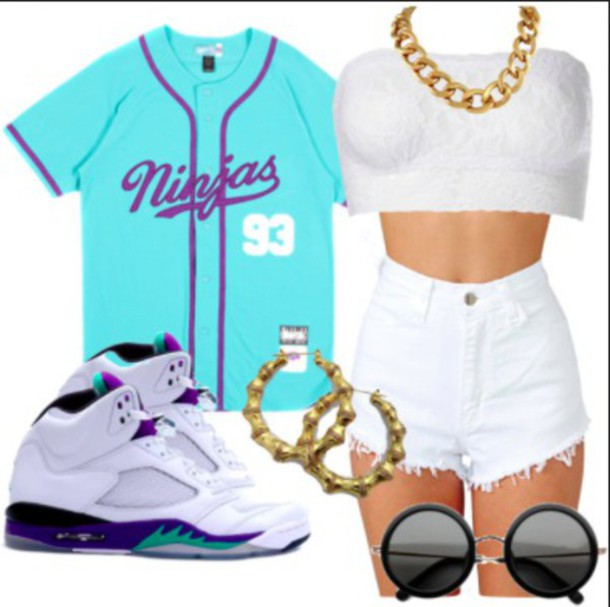 shirt jersey sunglasses gold earrings jordans white shorts white/cream crop top blouse gold necklace