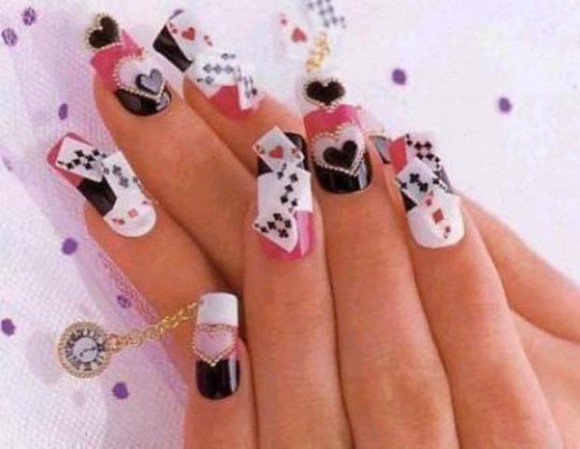 alice in wonderland nail polish nails art hearts