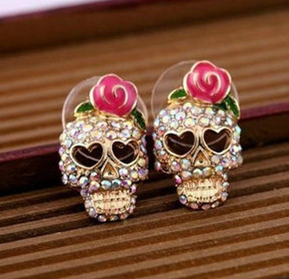 Fashion Cute Rhinestone Rose Flower Skeleton Skull Stud Earrings EA014 | eBay