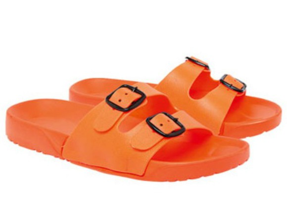 orange shoes birkenstocks sandals slip on shoes